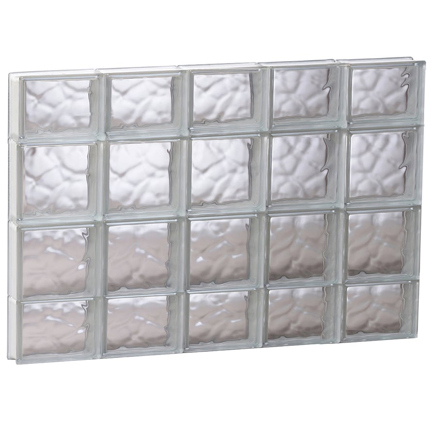 REDI2SET Wavy Glass Pattern Frameless Replacement Glass Block Window (Rough Opening: 39.25-in x 27.5-in; Actual: 38.75-in x 27-in)