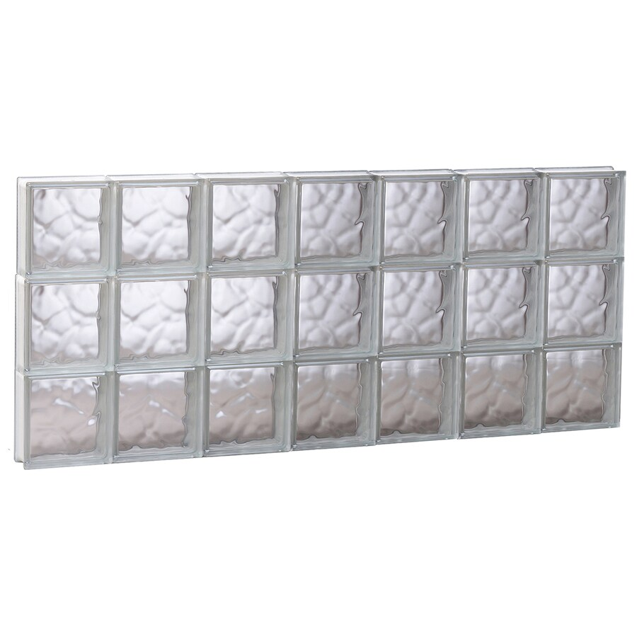 REDI2SET Wavy Glass Pattern Frameless Replacement Glass Block Window (Rough Opening: 40.62-in x 17.75-in; Actual: 40.12-in x 17.25-in)