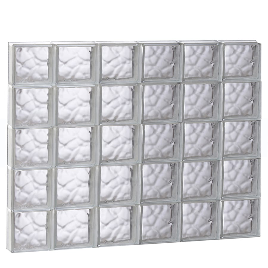 REDI2SET Wavy Glass Pattern Frameless Replacement Glass Block Window (Rough Opening: 48-in x 40-in; Actual: 46.5-in x 38.75-in)