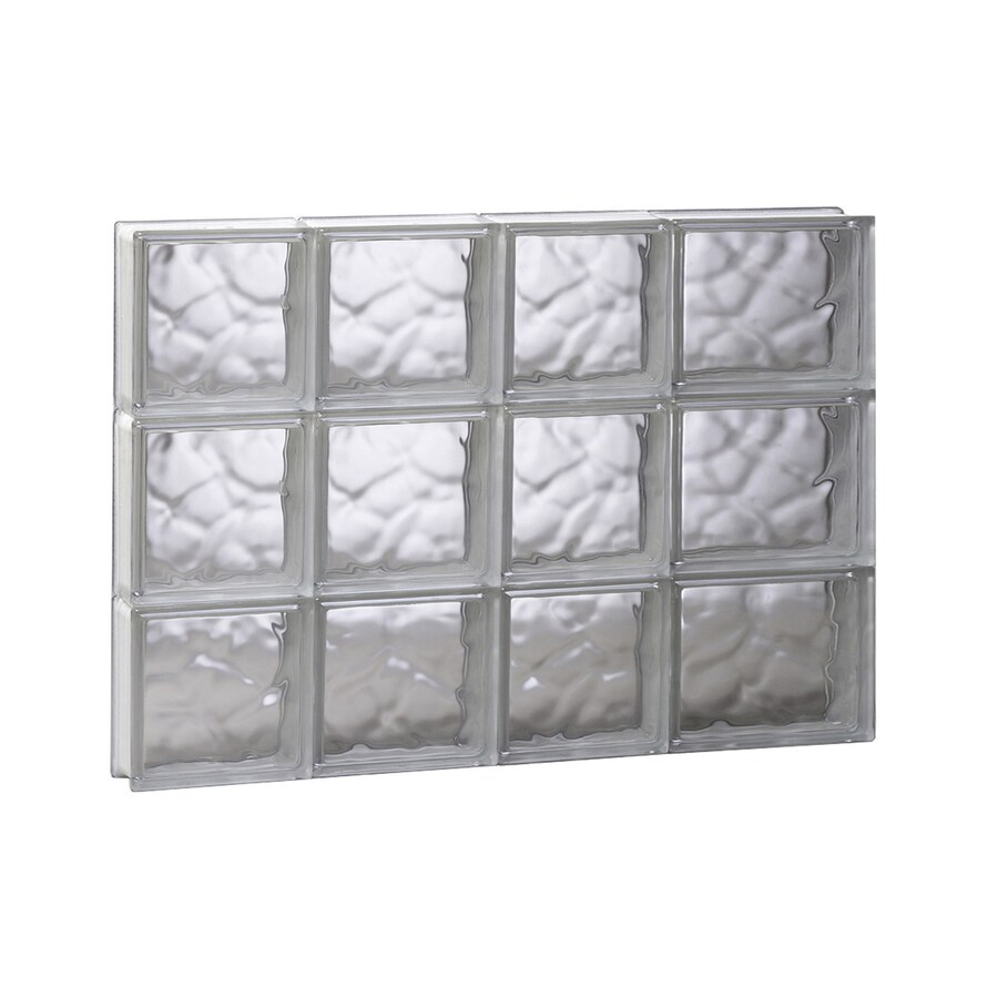 REDI2SET Wavy Glass Pattern Frameless Replacement Glass Block Window (Rough Opening: 26-in x 18-in; Actual: 25-in x 17.25-in)