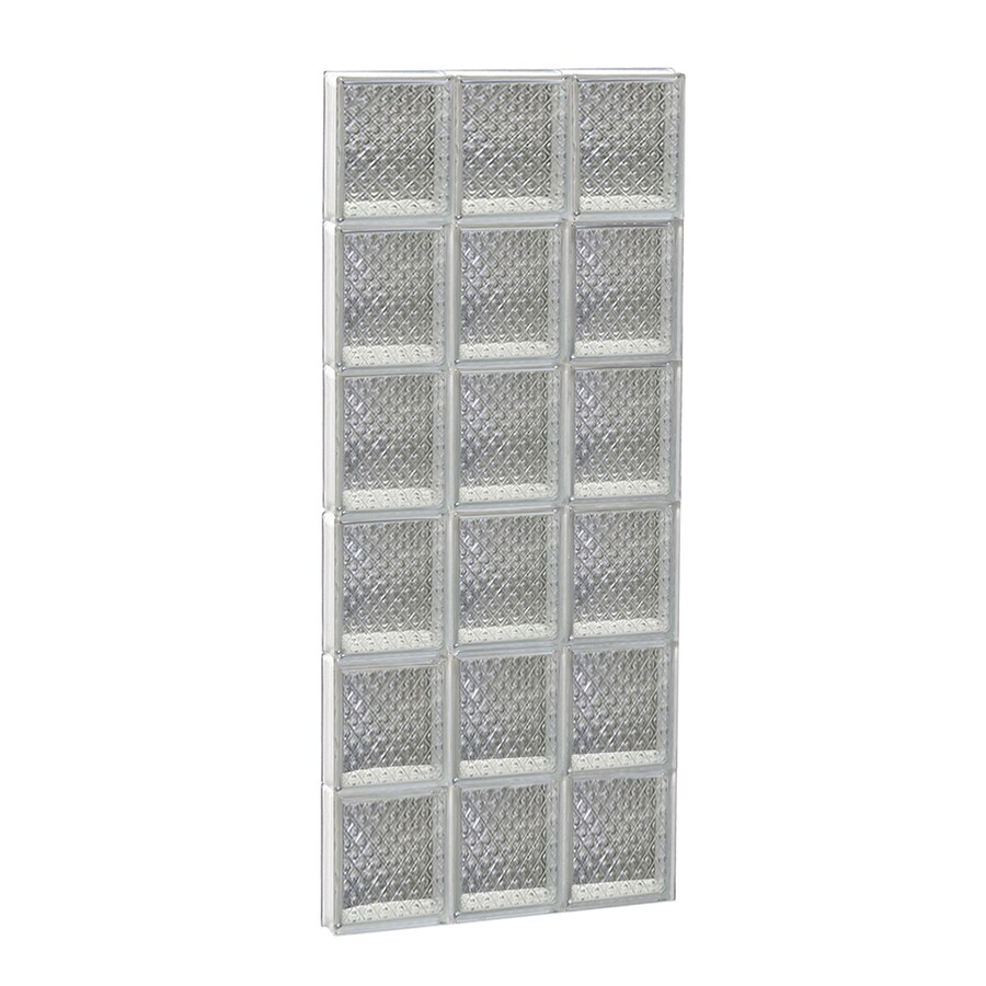 REDI2SET Diamond Glass Pattern Frameless Replacement Glass Block Window (Rough Opening: 18-in x 48-in; Actual: 17.25-in x 46.5-in)