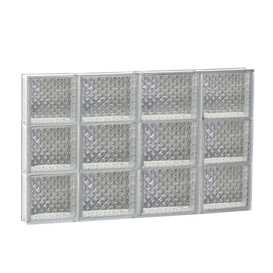 REDI2SET Diamond Glass Pattern Frameless Replacement Glass Block Window (Rough Opening: 28-in x 18-in; Actual: 27-in x 17.25-in)