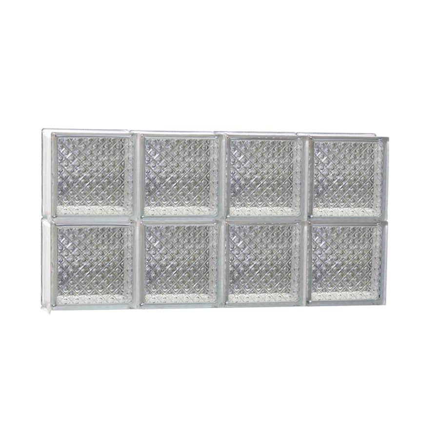 REDI2SET Diamond Glass Pattern Frameless Replacement Glass Block Window (Rough Opening: 32-in x 16-in; Actual: 31-in x 15.5-in)