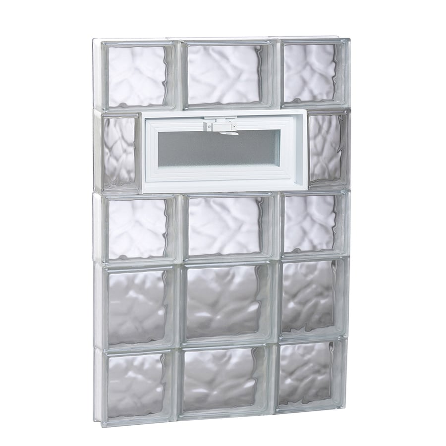 REDI2SET Wavy Glass Pattern Frameless Replacement Glass Block Window (Rough Opening: 20-in x 34-in; Actual: 19.25-in x 32.75-in)