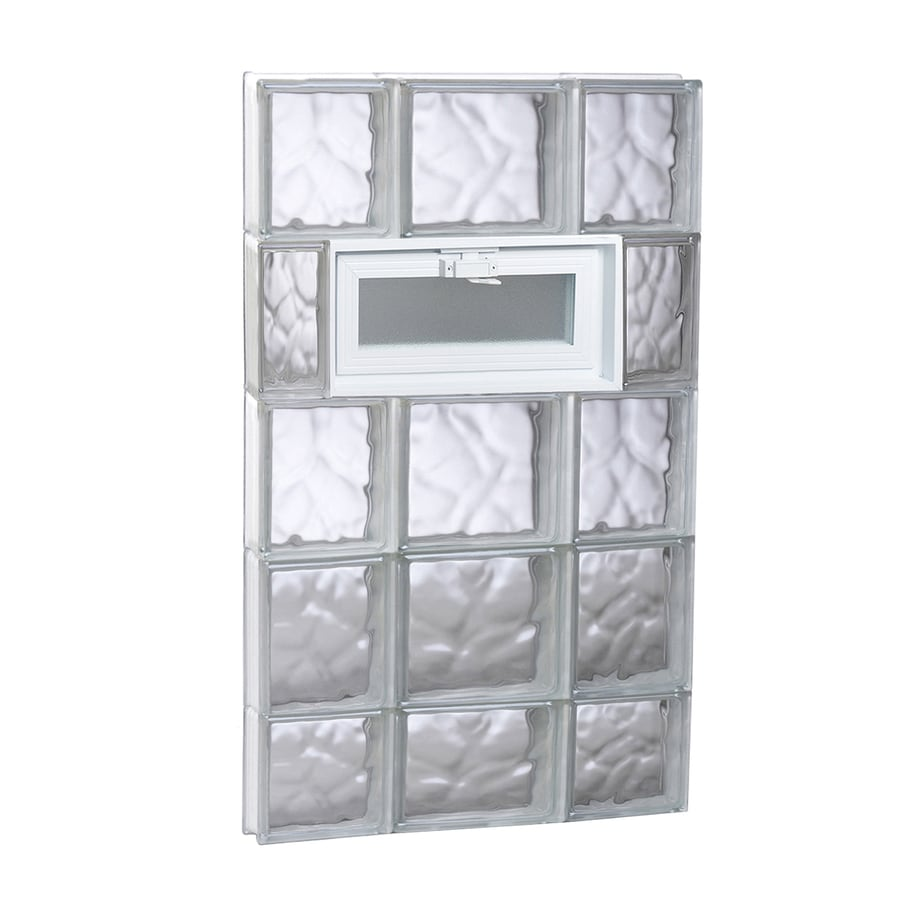 REDI2SET Wavy Glass Pattern Frameless Replacement Glass Block Window (Rough Opening: 20-in x 38-in; Actual: 19.25-in x 36.75-in)