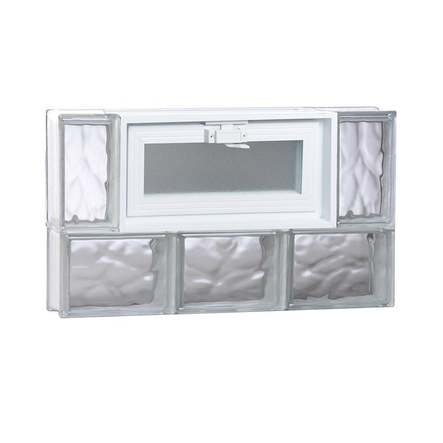 REDI2SET Wavy Glass Pattern Frameless Replacement Glass Block Window (Rough Opening: 24-in x 14-in; Actual: 23.25-in x 13.5-in)