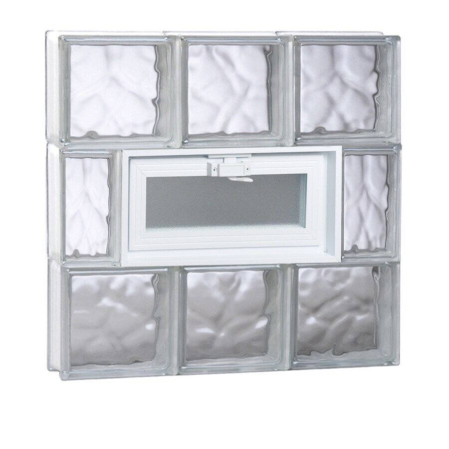 REDI2SET Wavy Glass Pattern Frameless Replacement Glass Block Window (Rough Opening: 24-in x 24-in; Actual: 23.25-in x 23.25-in)