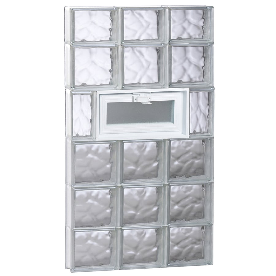 REDI2SET Wavy Glass Pattern Frameless Replacement Glass Block Window (Rough Opening: 24-in x 46-in; Actual: 23.25-in x 44.5-in)