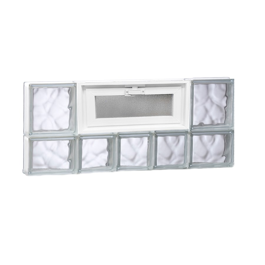 REDI2SET Wavy Glass Pattern Frameless Replacement Glass Block Window (Rough Opening: 34-in x 14-in; Actual: 32.75-in x 13.5-in)