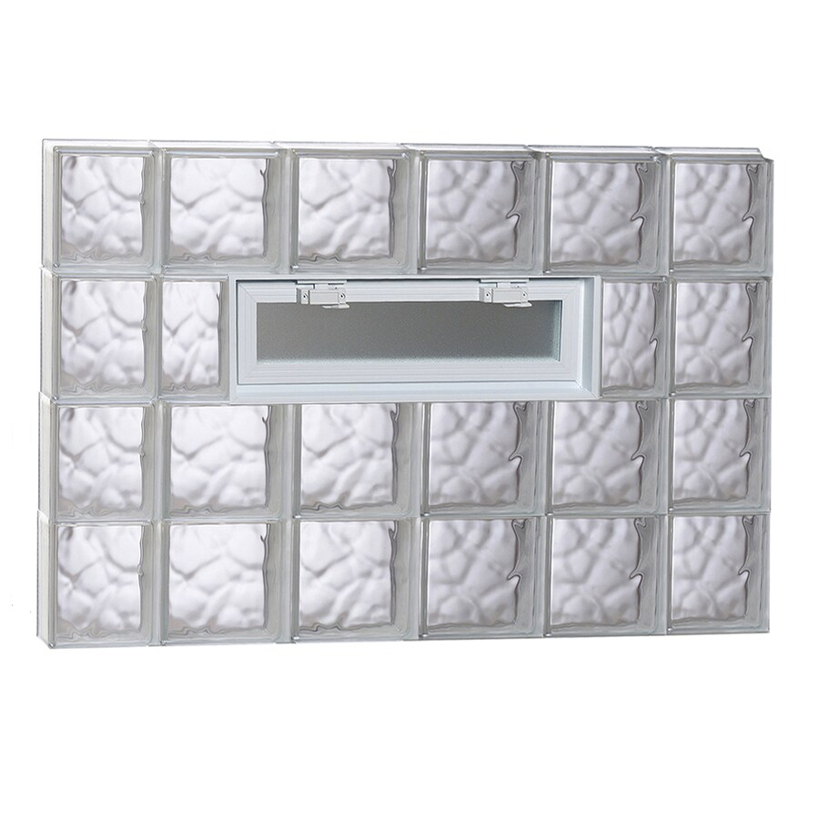 REDI2SET Wavy Pattern Frameless Replacement Glass Block Window (Rough Opening: 44-in x 32-in; Actual: 42.5-in x 31-in)