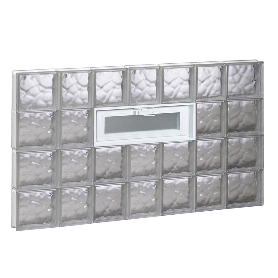 REDI2SET Wavy Pattern Frameless Replacement Glass Block Window (Rough Opening: 46-in x 32-in; Actual: 44.25-in x 31-in)