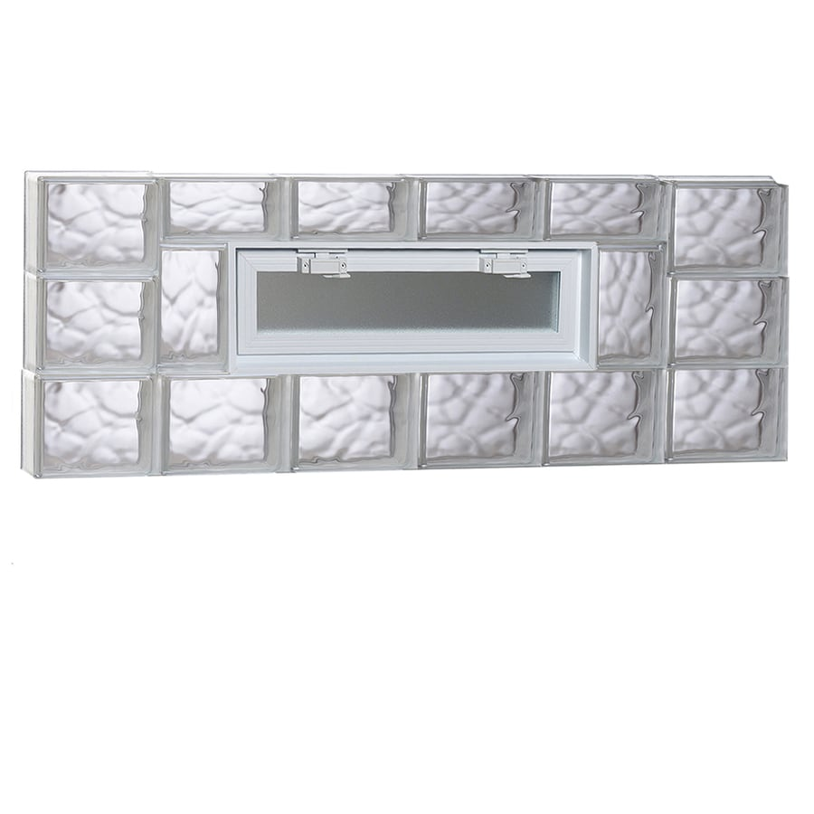REDI2SET Wavy Pattern Frameless Replacement Glass Block Window (Rough Opening: 48-in x 18-in; Actual: 46.5-in x 17.25-in)