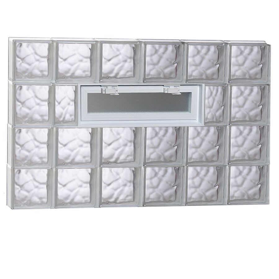 REDI2SET Wavy Pattern Frameless Replacement Glass Block Window (Rough Opening: 48-in x 32-in; Actual: 46.5-in x 31-in)