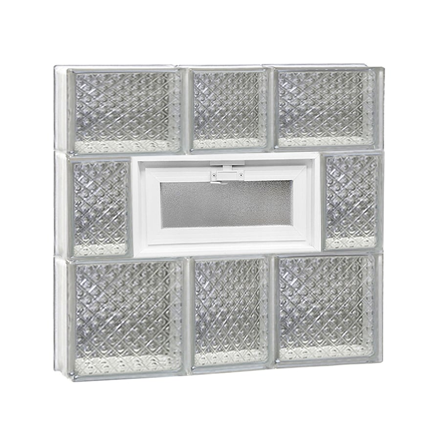 REDI2SET Diamond Pattern Frameless Replacement Glass Block Window (Rough Opening: 22-in x 22-in; Actual: 21.25-in x 21.25-in)