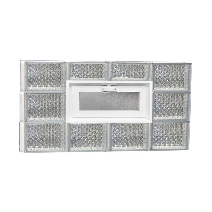 REDI2SET Diamond Pattern Frameless Replacement Glass Block Window (Rough Opening: 32-in x 18-in; Actual: 31-in x 17.25-in)