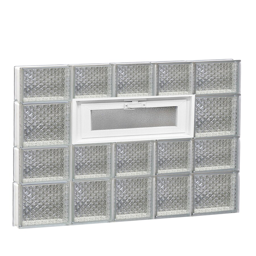 REDI2SET Diamond Pattern Frameless Replacement Glass Block Window (Rough Opening: 34-in x 26-in; Actual: 32.75-in x 25-in)