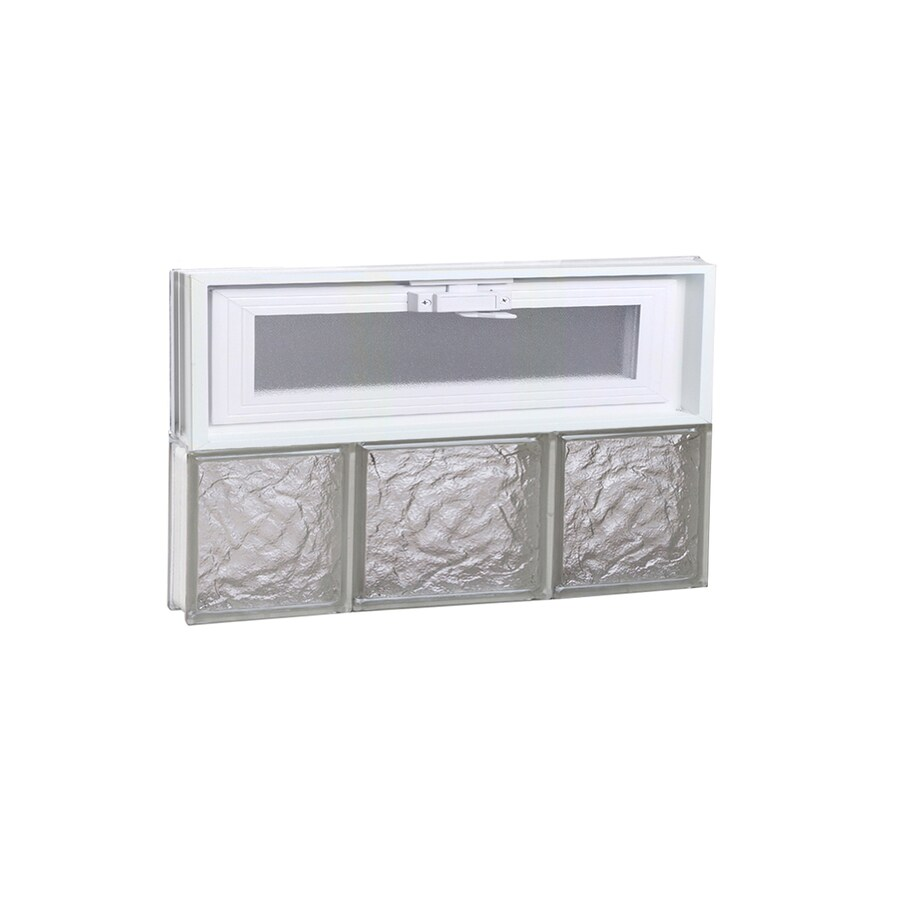 REDI2SET Ice Glass Pattern Frameless Replacement Glass Block Window (Rough Opening: 20-in x 12-in; Actual: 19.25-in x 11.5-in)