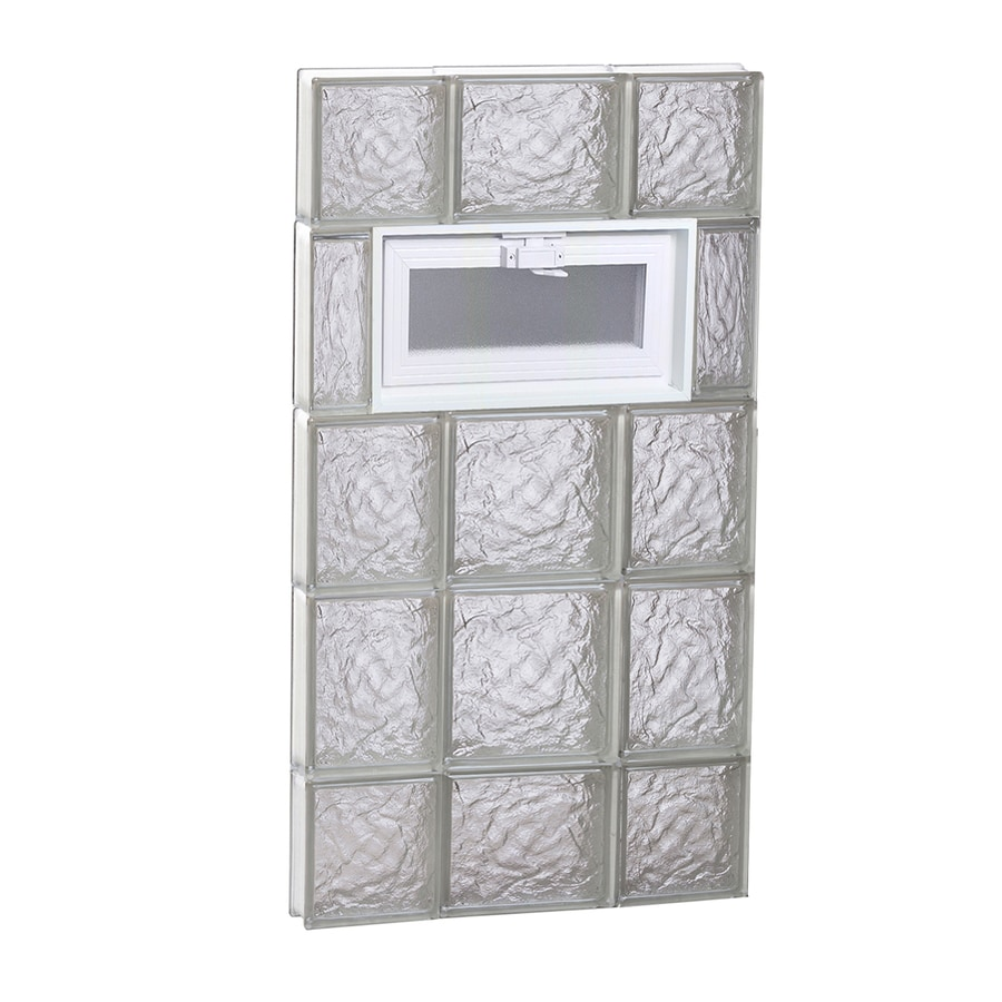 REDI2SET Ice Glass Pattern Frameless Replacement Glass Block Window (Rough Opening: 20-in x 36-in; Actual: 19.25-in x 34.75-in)