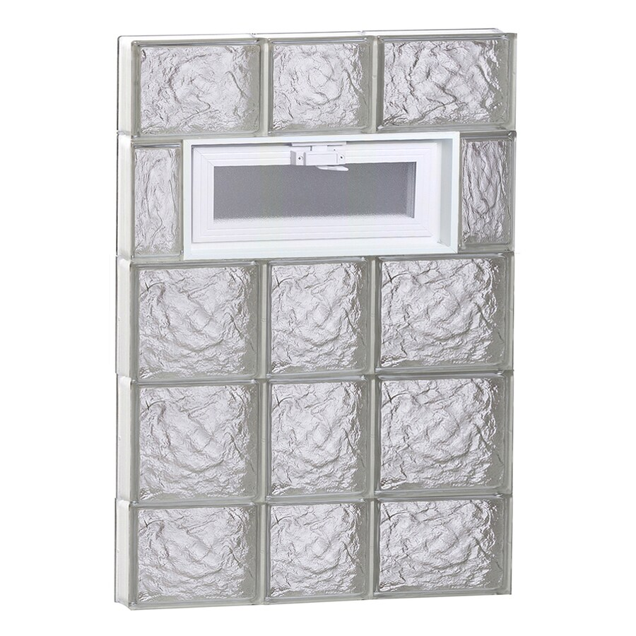 REDI2SET Ice Glass Pattern Frameless Replacement Glass Block Window (Rough Opening: 22-in x 36-in; Actual: 21.25-in x 34.75-in)