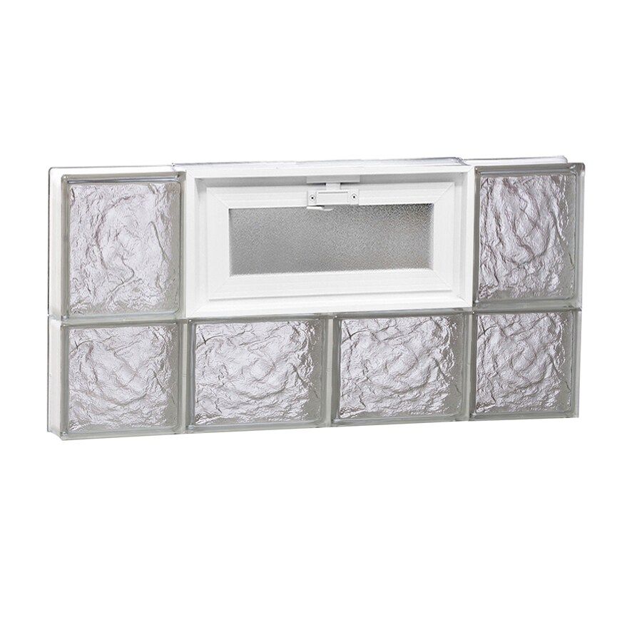 REDI2SET Ice Glass Pattern Frameless Replacement Glass Block Window (Rough Opening: 28-in x 14-in; Actual: 27-in x 13.5-in)
