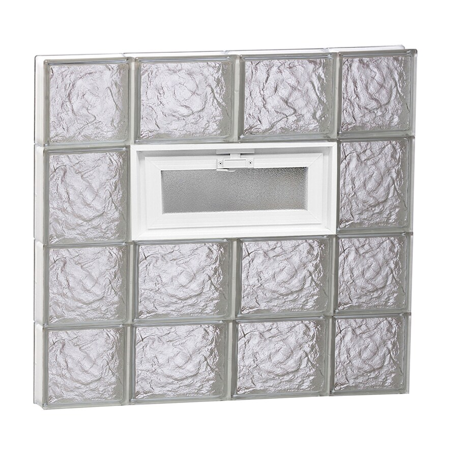 REDI2SET Ice Glass Pattern Frameless Replacement Glass Block Window (Rough Opening: 28-in x 26-in; Actual: 27-in x 25-in)