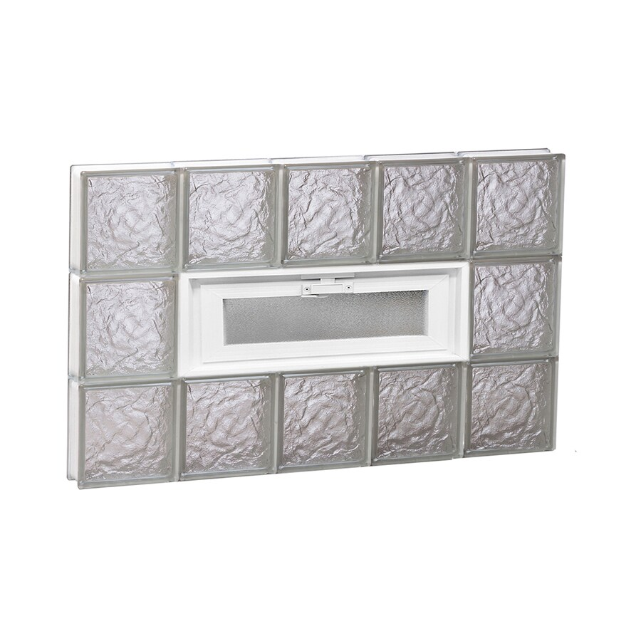 REDI2SET Ice Glass Pattern Frameless Replacement Glass Block Window (Rough Opening: 30-in x 18-in; Actual: 28.75-in x 17.25-in)