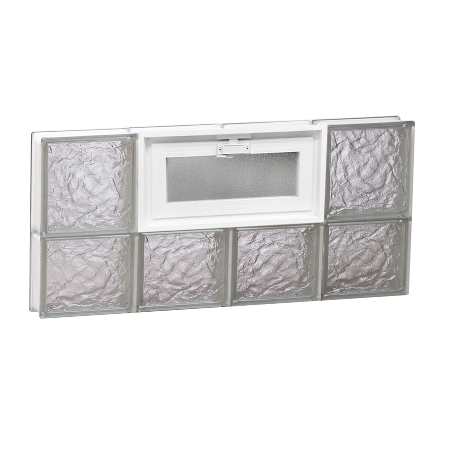 REDI2SET Ice Glass Pattern Frameless Replacement Glass Block Window (Rough Opening: 32-in x 14-in; Actual: 31-in x 13.5-in)