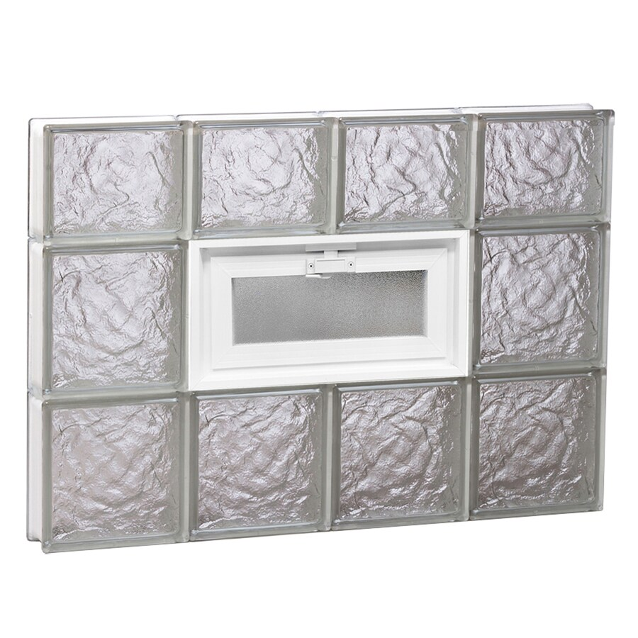 REDI2SET Ice Glass Pattern Frameless Replacement Glass Block Window (Rough Opening: 32-in x 22-in; Actual: 31-in x 21.25-in)