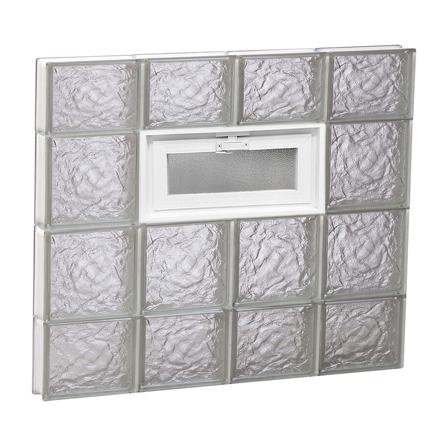 REDI2SET Ice Glass Pattern Frameless Replacement Glass Block Window (Rough Opening: 32-in x 28-in; Actual: 31-in x 27-in)