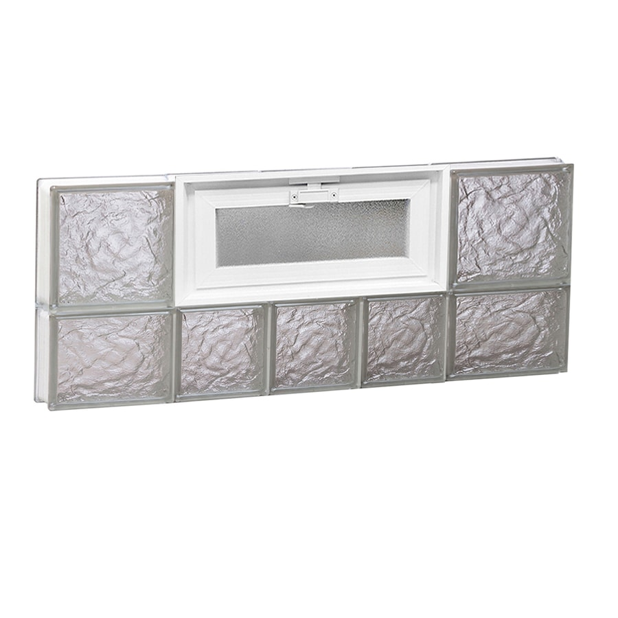 REDI2SET Ice Glass Pattern Frameless Replacement Glass Block Window (Rough Opening: 34-in x 14-in; Actual: 32.75-in x 13.5-in)