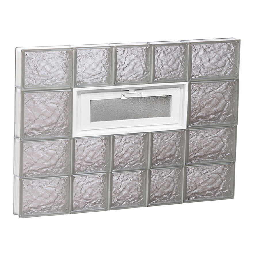 REDI2SET Ice Glass Pattern Frameless Replacement Glass Block Window (Rough Opening: 34-in x 26-in; Actual: 32.75-in x 25-in)