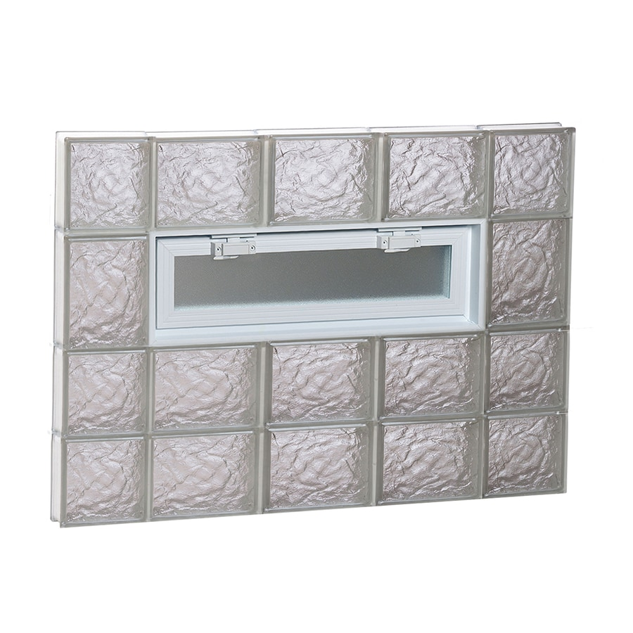 REDI2SET Ice Glass Pattern Frameless Replacement Glass Block Window (Rough Opening: 36-in x 26-in; Actual: 34.75-in x 25-in)