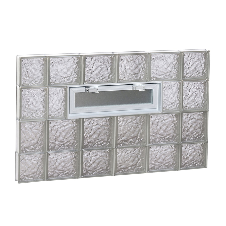 REDI2SET Ice Glass Pattern Frameless Replacement Glass Block Window (Rough Opening: 44-in x 28-in; Actual: 42.5-in x 27-in)