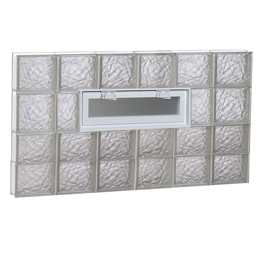 REDI2SET Ice Glass Pattern Frameless Replacement Glass Block Window (Rough Opening: 48-in x 26-in; Actual: 46.5-in x 25-in)