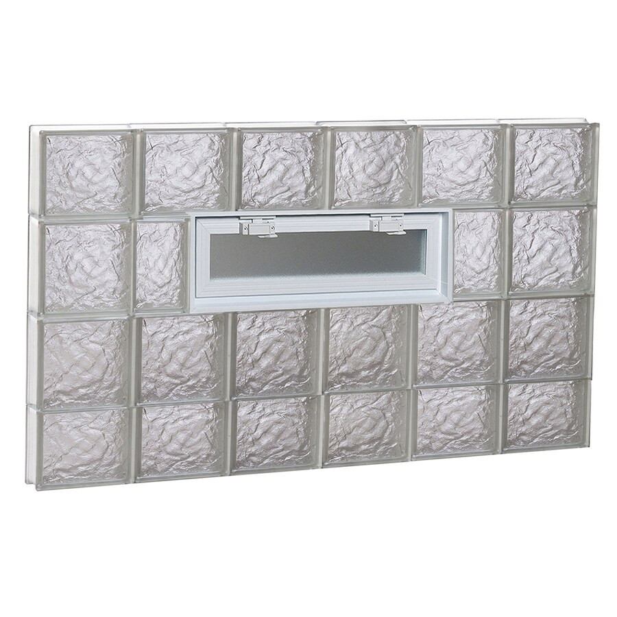 REDI2SET Ice Glass Pattern Frameless Replacement Glass Block Window (Rough Opening: 48-in x 30-in; Actual: 46.5-in x 29-in)