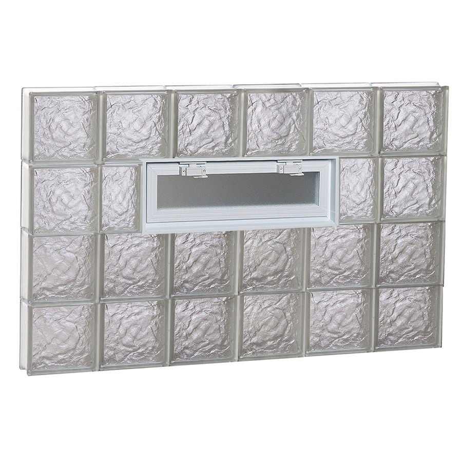 REDI2SET Ice Glass Pattern Frameless Replacement Glass Block Window (Rough Opening: 48-in x 32-in; Actual: 46.5-in x 31-in)