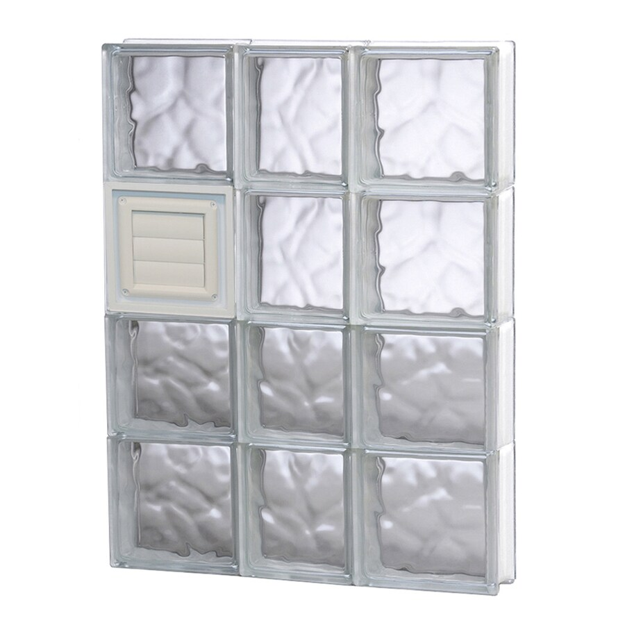 REDI2SET Wavy Glass Pattern Frameless Replacement Glass Block Window (Rough Opening: 22-in x 32-in; Actual: 21.25-in x 31-in)