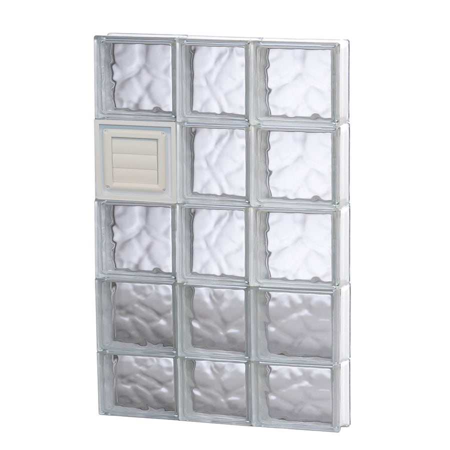 REDI2SET Wavy Glass Pattern Frameless Replacement Glass Block Window (Rough Opening: 22-in x 38-in; Actual: 21.25-in x 36.75-in)
