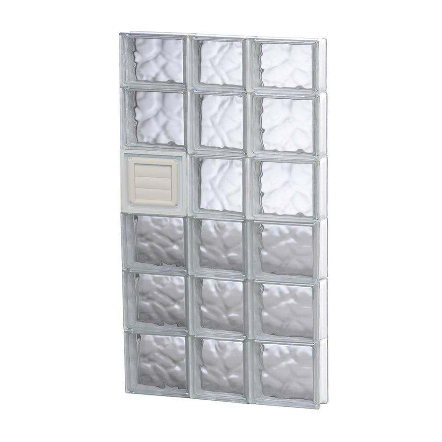 REDI2SET Wavy Glass Pattern Frameless Replacement Glass Block Window (Rough Opening: 22-in x 46-in; Actual: 21.25-in x 44.5-in)