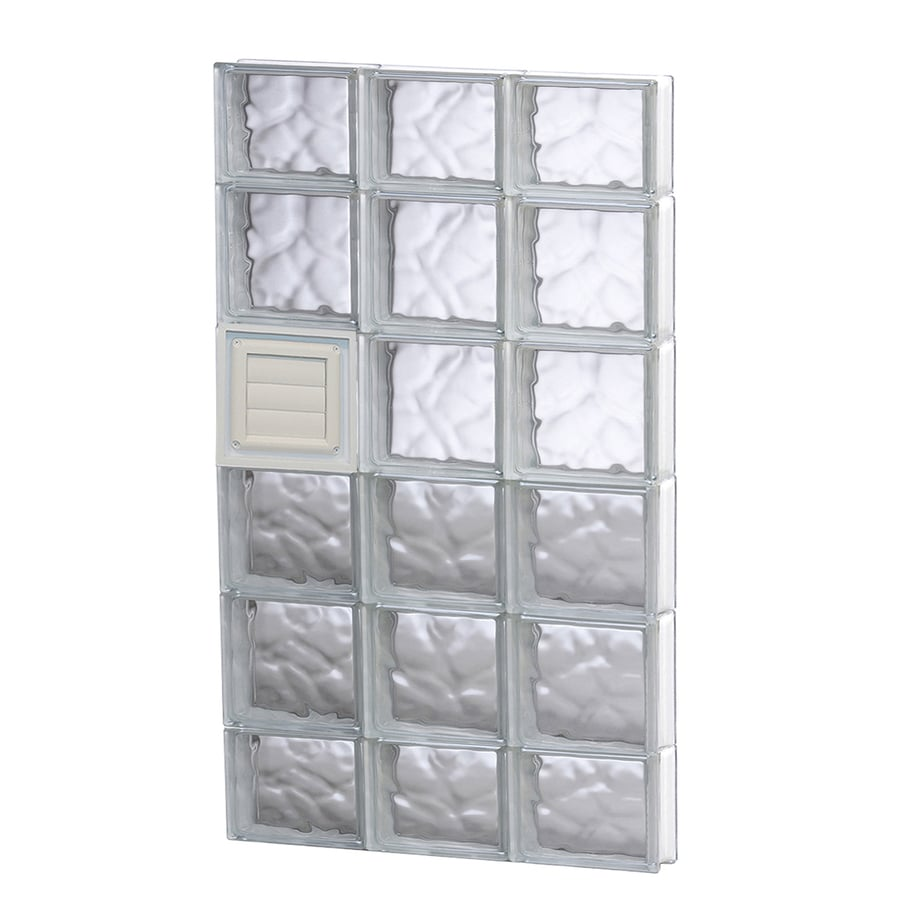 REDI2SET Wavy Glass Pattern Frameless Replacement Glass Block Window (Rough Opening: 24-in x 44-in; Actual: 23.25-in x 42.5-in)