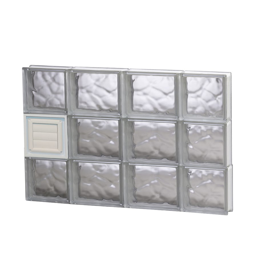 REDI2SET Wavy Glass Pattern Frameless Replacement Glass Block Window (Rough Opening: 28-in x 18-in; Actual: 27-in x 17.25-in)