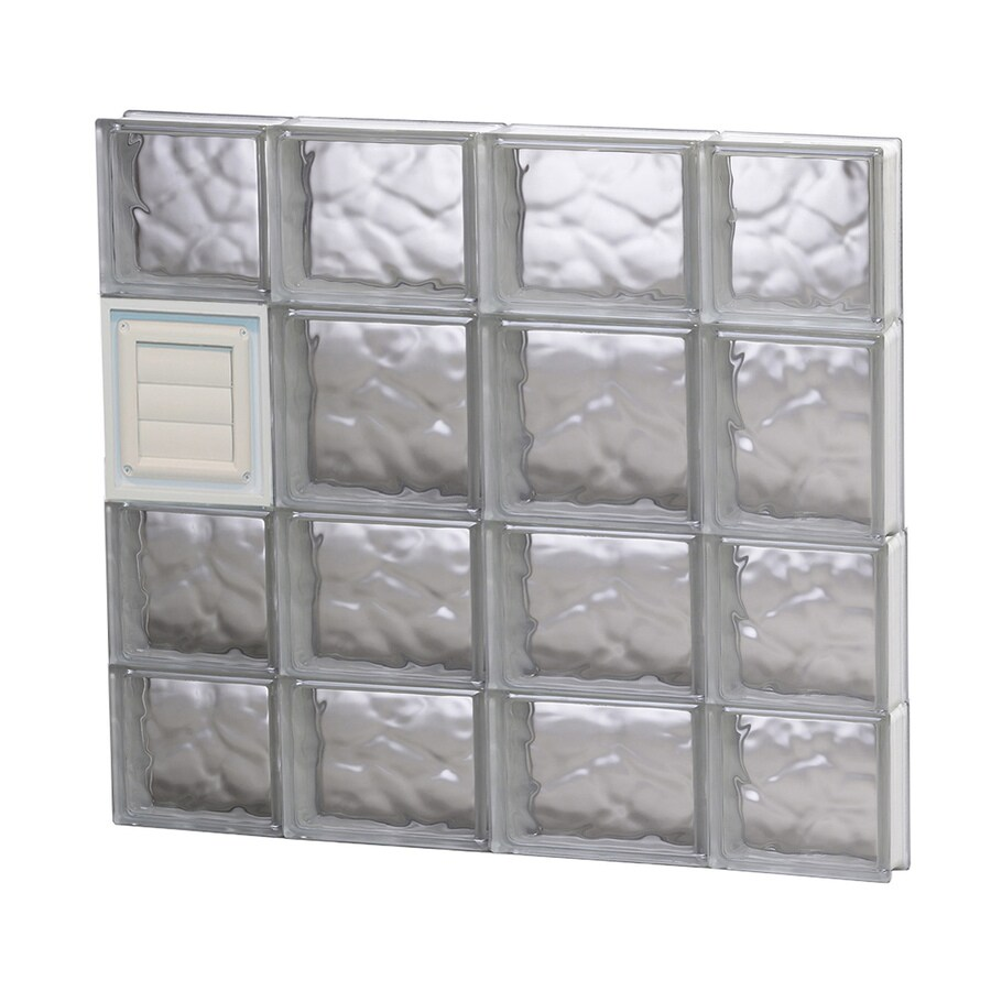 REDI2SET Wavy Glass Pattern Frameless Replacement Glass Block Window (Rough Opening: 28-in x 26-in; Actual: 27-in x 25-in)