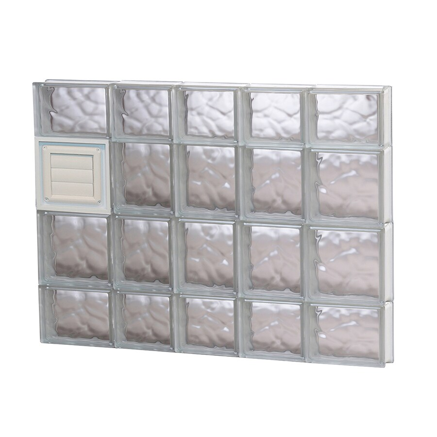 REDI2SET Wavy Glass Pattern Frameless Replacement Glass Block Window (Rough Opening: 34-in x 28-in; Actual: 32.75-in x 27-in)