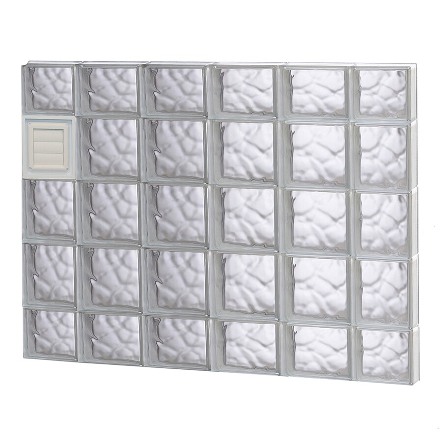 REDI2SET Wavy Glass Pattern Frameless Replacement Glass Block Window (Rough Opening: 44-in x 36-in; Actual: 42.5-in x 34.75-in)
