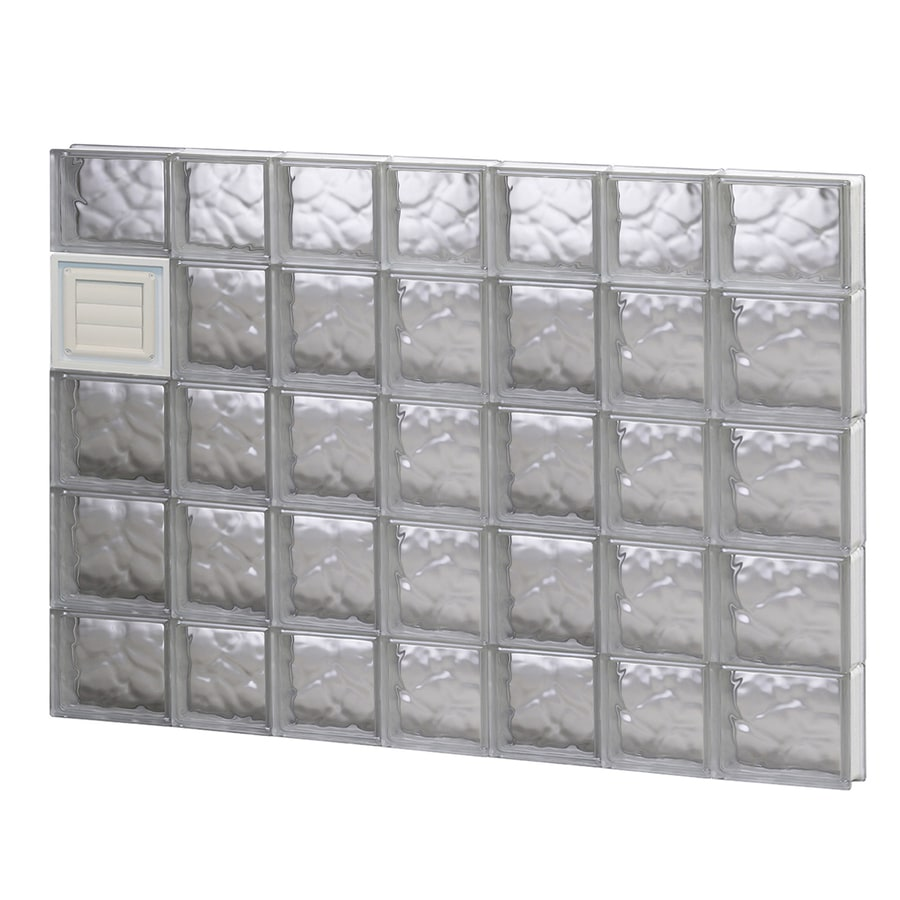 REDI2SET Wavy Glass Pattern Frameless Replacement Glass Block Window (Rough Opening: 46-in x 36-in; Actual: 44.25-in x 34.75-in)