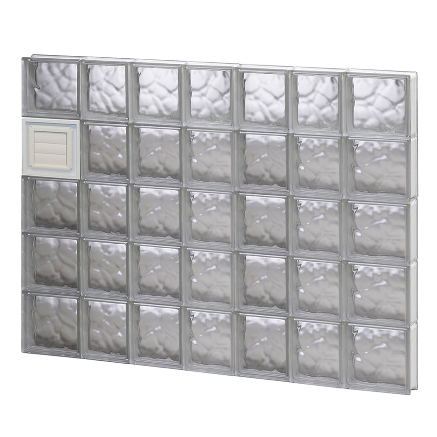 REDI2SET Wavy Glass Pattern Frameless Replacement Glass Block Window (Rough Opening: 46-in x 40-in; Actual: 44.25-in x 38.75-in)