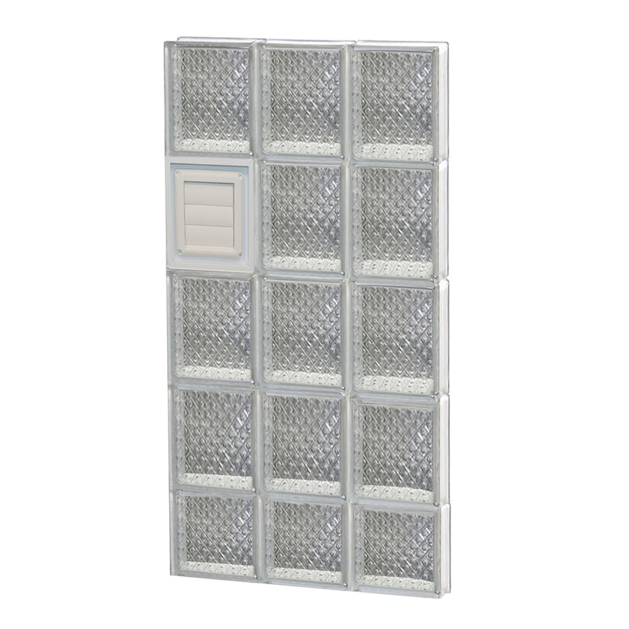REDI2SET Diamond Glass Pattern Frameless Replacement Glass Block Window (Rough Opening: 18-in x 38-in; Actual: 17.25-in x 36.75-in)