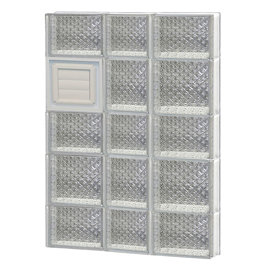 REDI2SET Diamond Glass Pattern Frameless Replacement Glass Block Window (Rough Opening: 22-in x 34-in; Actual: 21.25-in x 32.75-in)