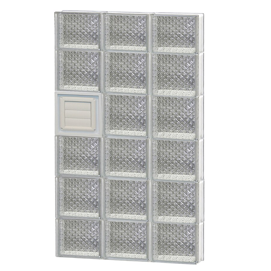 REDI2SET Diamond Glass Pattern Frameless Replacement Glass Block Window (Rough Opening: 24-in x 46-in; Actual: 23.25-in x 44.5-in)