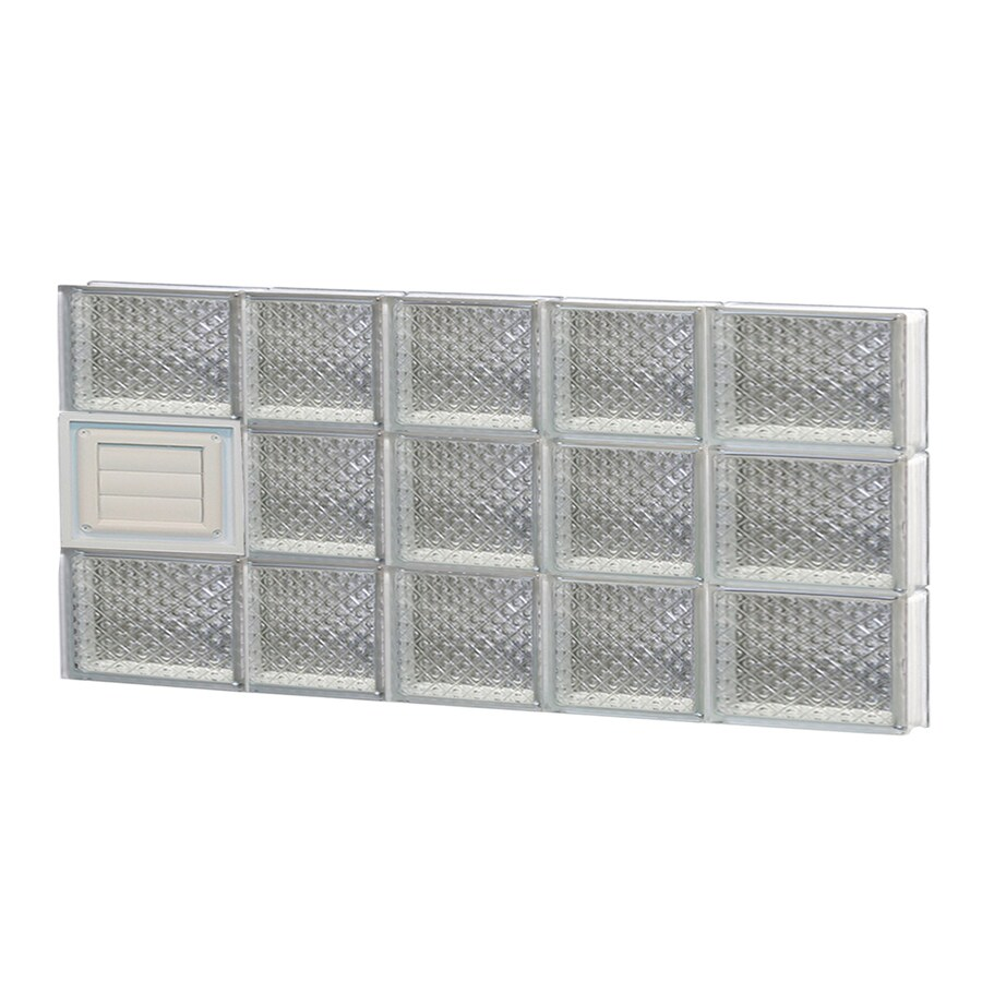 REDI2SET Diamond Glass Pattern Frameless Replacement Glass Block Window (Rough Opening: 34-in x 18-in; Actual: 32.75-in x 17.25-in)
